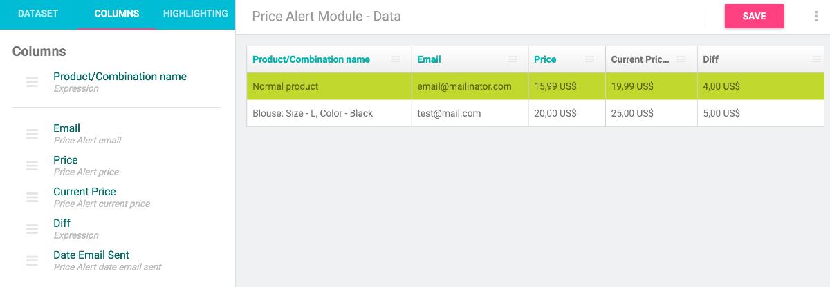 price alert datakick integration