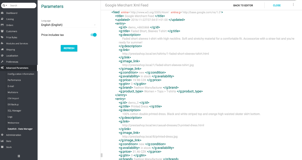 xml editor - data preview
